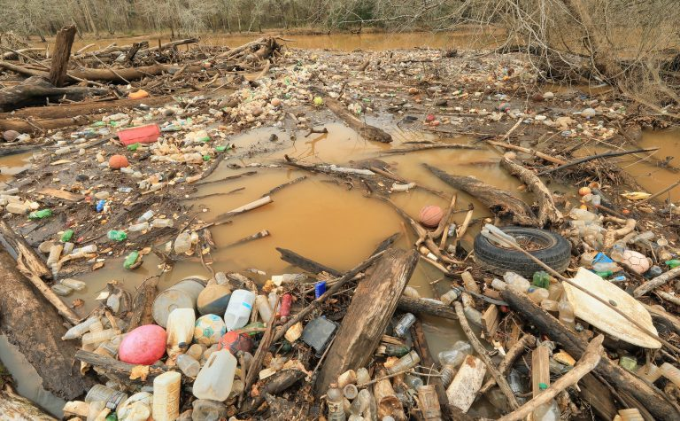 Trash in the South River | Photo by Alan Cressler